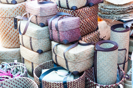 Product Weaving A Wicker Basket By Handmade, Product work in the family industry. sale in a market of Thailand Reklamní fotografie