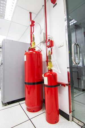 FM-200 Suppression Systems, Chemical tank used for extinguishing  FM200 Gas Flooding System, Gas Suppression System in Data Center Room Stock fotó