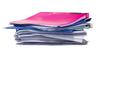 file folder and Stack of business report paper file isolated white background copy space.