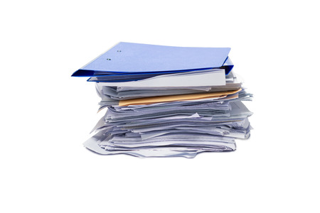 file folder and Stack of business report paper file isolated white background Imagens