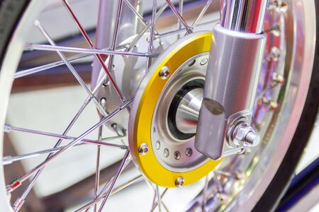 Motorcycle wheels, wire spokes of a motorcycle concept new design modern Stok Fotoğraf