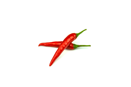 Chili - The pepper plants to the nature of the sphere of the long spikes isolated white background. Banco de Imagens