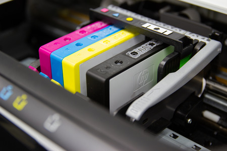 Close up color printer ink jet cartridge of the printer inject Banco de Imagens