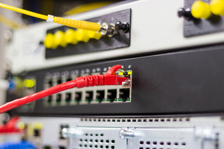 The network cables to connect Lan port in the Datacenter room, concept Communication connection technology