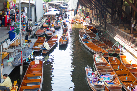 Damnoen Saduak Floating Market, Thailand:- May 18, 2019 :- This is a floating Market in Thailand and take a boat then have a great tour at Floating Market Damnoen Saduak, Thailand Editorial