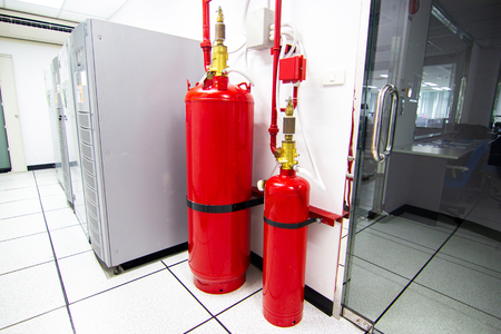 FM-200 Suppression Systems, FM200 Gas Flooding System, Gas Suppression System in Data Center Room 版權商用圖片