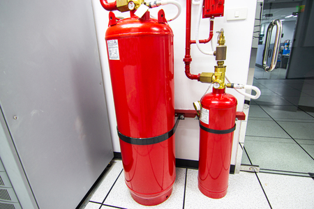 FM-200 Suppression Systems, FM200 Gas Flooding System, Gas Suppression System in Data Center Room Stock Photo