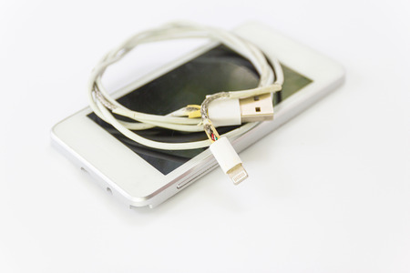 danger unsafe cable Phone Charger Lack of damage on white background concept danger for cable unsafe