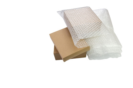 Bubbles covering the box by bubble wrap for protection product cracked  or insurance During transit -isolated white background copy space.