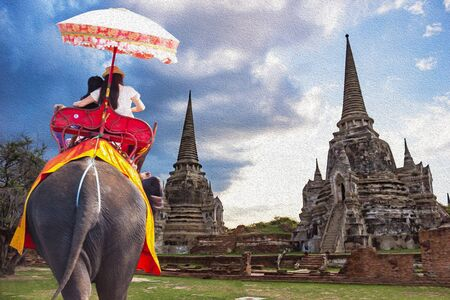 Travel Ayutthaya Thailand - Wat Phra Si Sanphet and event drive on elephant is the dominant activity, oil paint style image
