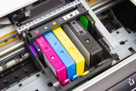 the color printer inkjet cartridge of the printer inject 免版税图像