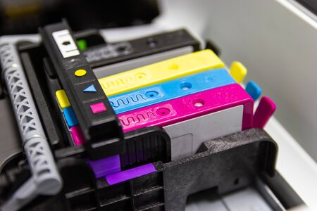 Close up color printer ink jet cartridge of the printer inject