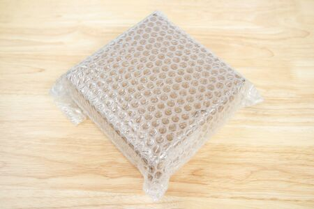 Bubbles covering the box by plastic wrap for protection product cracked  or insurance During transitt Stok Fotoğraf