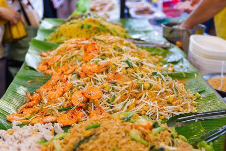 Closeup cooking Pad Thai noodles, Thai street food in the market popular Thai Food Bangkok Thailand Stok Fotoğraf