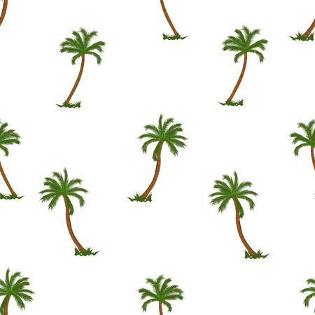 Coconut palm tree seamless pattern vector illustrations on white background