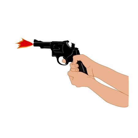 Hand of Woman with pistol and Guns forward, Vector illustration