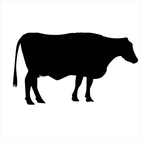 Cow milk silhouette vector black on white background - Vector Illustrations