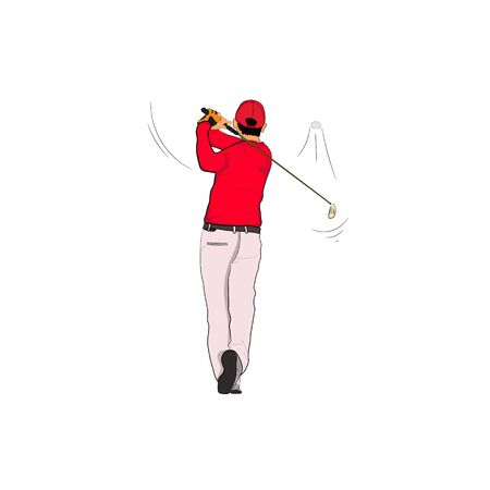 Golf player in red polo with Golf swing,  vector illustration Isolated white background