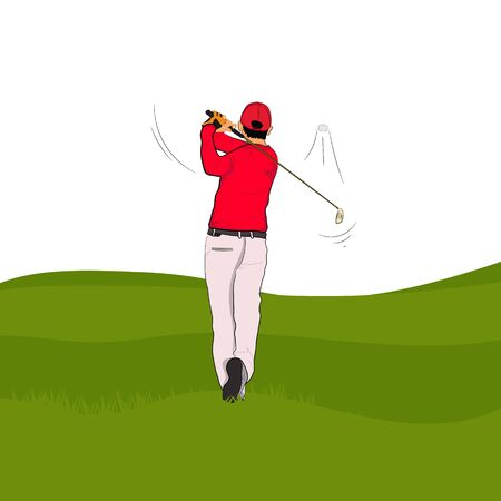 Golf player in red polo with Golf swing On the green lawn,  vector illustration Isolated white background Ilustração