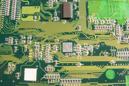 Electronic circuit board part of electronic machine component concept technology of computer circuit hardware Banco de Imagens - 130930402