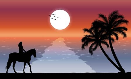 image silhouette twilight with woman riding a horse on the beach and there is a moon on the sea, design vector illustration
