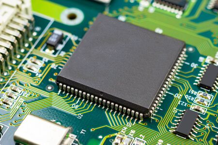 chip ic control the mainboard capacitor, concept electronic technology Reklamní fotografie