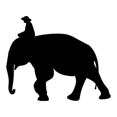 Black elephant with Elephant mahout silhouette Asia walking, graphics design vector outline Illustration isolated on white background