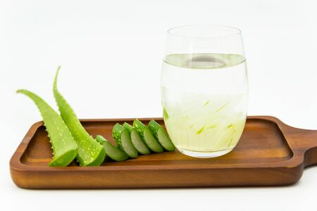 Aloe vera  the plant that yields aloe vera, products including beverages, skin lotion, cosmetics, or ointments for minor burns and sunburns.  写真素材