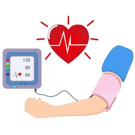 Digital device Medical equipment for measuring pressure, Diagnose hypertension, heart, vector illustrations concept healthcare