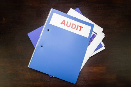 document folder for audit, business concept office Archivio Fotografico