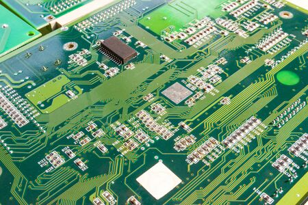 Electronic circuit board part of electronic machine component concept technology of computer circuit hardware