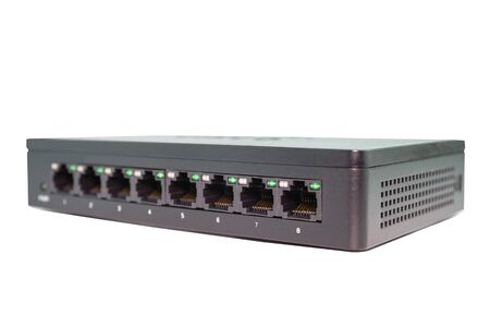 Black switch 8 port gigabit isolated white background device connect network and internet
