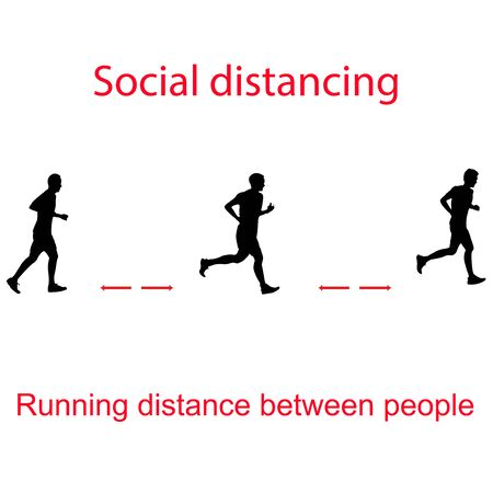 drawing a pictures silhouettes of people running distance between people, the practices put in place to enforce social distancing,concept safety novel coronavirus 2019, vector illustration