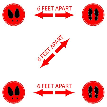 Foot Woman and Man The Symbol Marking the standing position, the floor as markers for people to stand 6 feet apart, the practices put in place to enforce social distancing, vector illustration