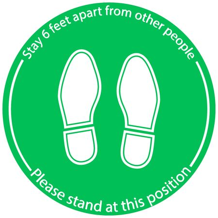 Foot Symbol Marking the standing position, the floor as markers for people to stand 6 feet apart, the practices put in place to enforce social distancing, vector illustration Illustration