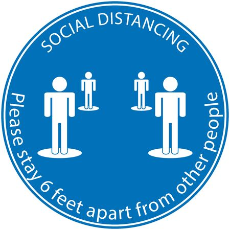 Icon people concept Social Distancing stay 6 feet apart from other people, the practices put in place to enforce social distancing, vector illustration Vector Illustration