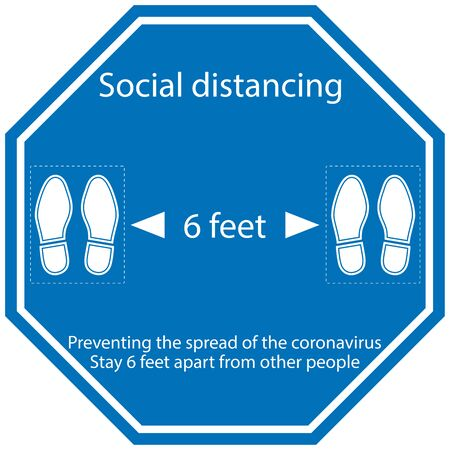 Foot Symbol Marking the standing position, the floor as markers for people to stand 6 feet apart, the practices put in place to enforce social distancing, vector illustration