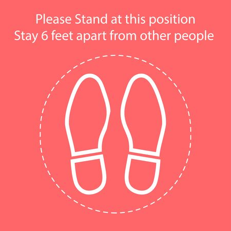 Foot Symbol Marking the standing position, the floor as markers for people to stand 6 feet apart, the practices put in place to enforce social distancing, vector illustration 向量圖像