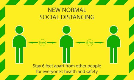 Icon people concept new normal stay 6 feet apart from other people, the practices put in place to enforce social distancing, vector illustration