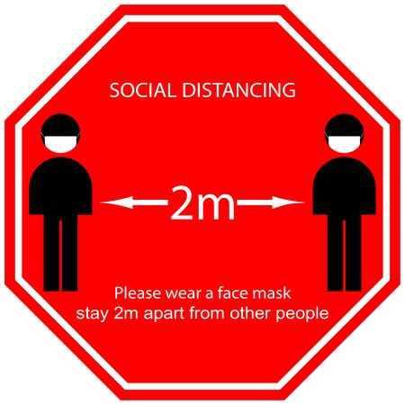 Foot Symbol Marking the standing position, the floor as markers for people to stand 2m apart, the practices put in place to enforce social distancing, vector illustration 일러스트