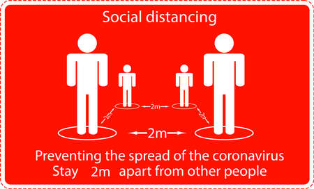 Icon people concept Social Distancing stay 2m apart from other people, the practices put in place to enforce social distancing, vector illustration