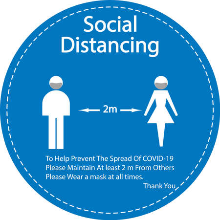 Icon people concept Social Distancing stay 2 m apart from other people, the practices put in place to enforce social distancing, illustration Illustration