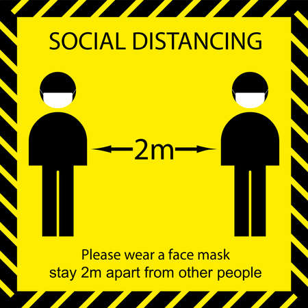 Icon people concept Social Distancing stay 2m apart from other people and wear a mask vector illustration