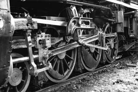 The train wheel of the Steam locomotive Back and White Tone