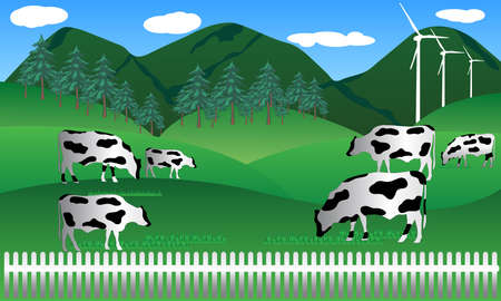 beef milk cow in farm in wild nature with mountain landscape view vector illustration 向量圖像