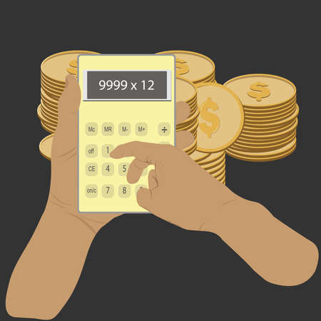 hand hold Calculator with coin background, concept to calculate the expense income Vector illustration