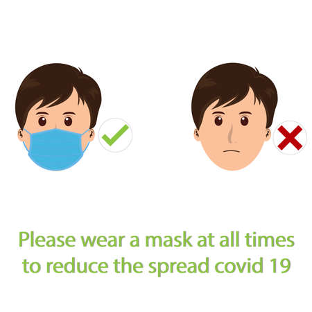 vector medical face mask and text concept prevent Covid-19 or Corona Virus