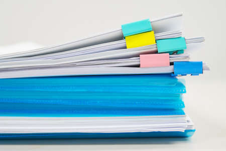 file folder and Stack of business report paper file on the table in a work office, concept document in work office Banque d'images