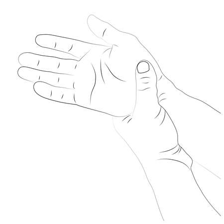 Pain in the wrist, man holding her wrist pain because Ligament in the wrist area, vector illustration concept Disease and healthcare 向量圖像
