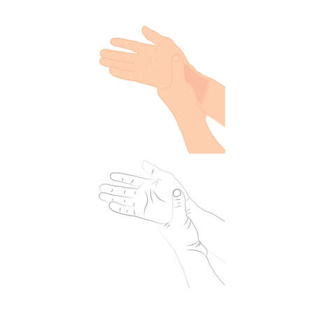 Pain in the wrist, man holding her wrist pain because Ligament in the wrist area, vector illustration concept Disease and healthcare Ilustração